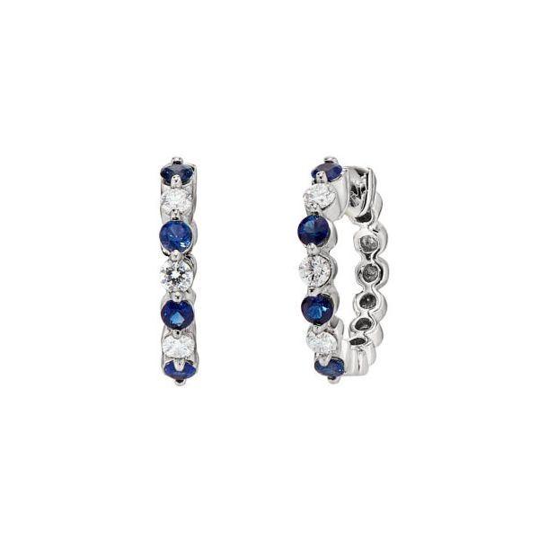 14K White Gold 8) 2.3mm Round Sapphires with .30tw Diamond Small Hoop Earrings Swede's Jewelers East Windsor, CT