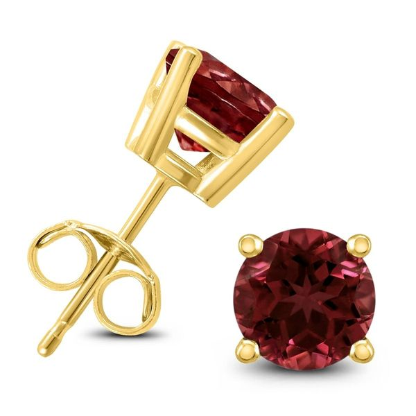 14K Yellow Gold 5mm Round Garnet Stud Earrings Swede's Jewelers East Windsor, CT