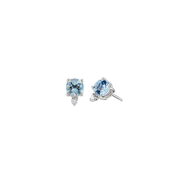 14K White Gold 5mm Round Aquamarine with .04tw Diamons Stud Earrings Swede's Jewelers East Windsor, CT