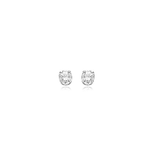 14K White Gold .60tw CZ Round Earrings Swede's Jewelers East Windsor, CT