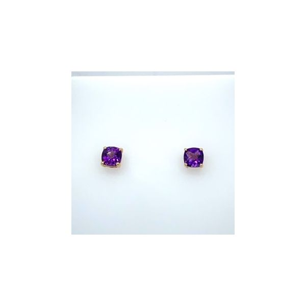 14k Yellow Gold 6mm CheckerBoard Cushion Cut Amethyst Stud Earrings Swede's Jewelers East Windsor, CT