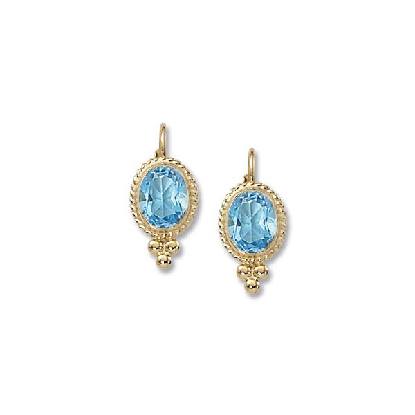 Carla 14K Yellow Gold With 8X6 Oval Blue Topaz Leverback Earrings Swede's Jewelers East Windsor, CT