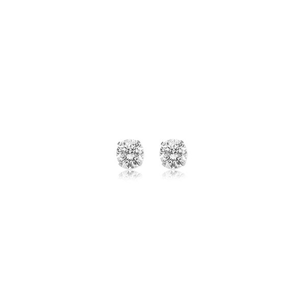 14K White Gold 5mm Round Earrings With Cubic Zirconia 1.00Tw CZ Swede's Jewelers East Windsor, CT