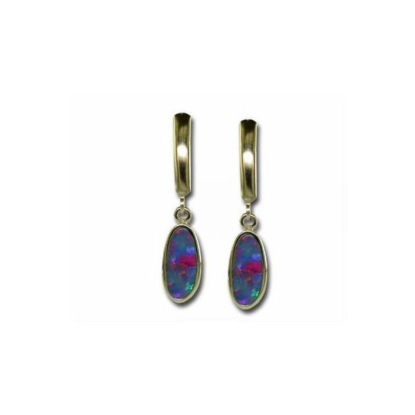 14K White Gold Australian Opal Doublet Leverback Earrings Swede's Jewelers East Windsor, CT