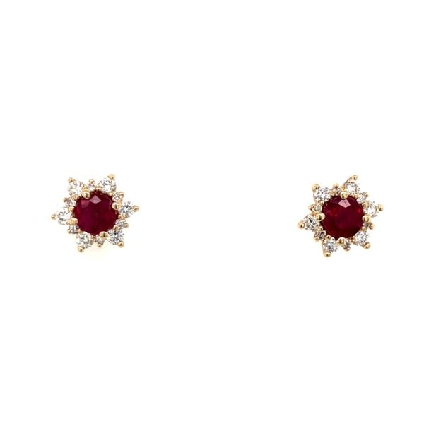 14kyg 4mm Ruby and diamond 0.30ctw Earrings Swede's Jewelers East Windsor, CT
