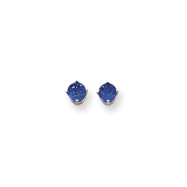14kt white gold 5mm Sapphire Earrings Swede's Jewelers East Windsor, CT