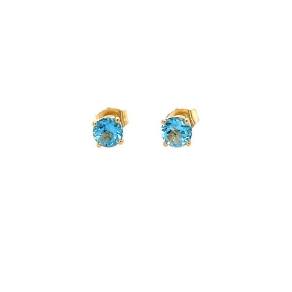 14kt yellow gold 5mm Round  Blue Topaz Earrings Swede's Jewelers East Windsor, CT