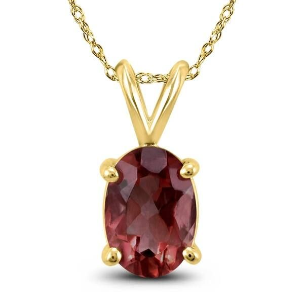 14K Yellow Gold 9X7 Oval Garnet Pendant on a 18