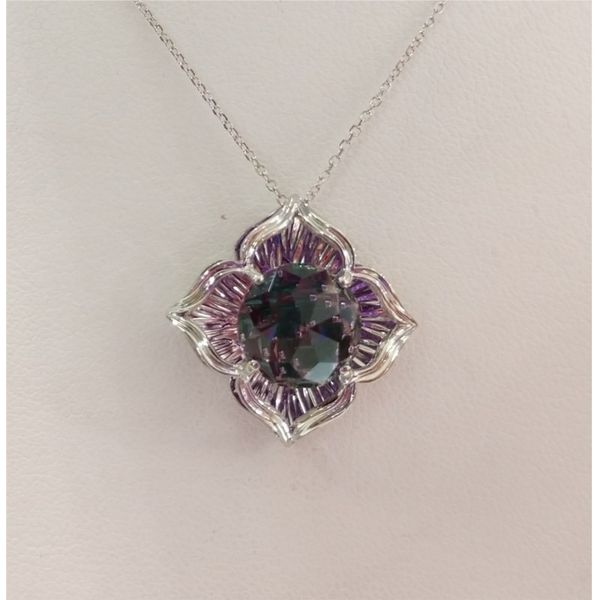 Galatea 14Kt White Gold Pendant With 10mm Amethyst Divinchi & 2 Emeralds & Rubies On A 18