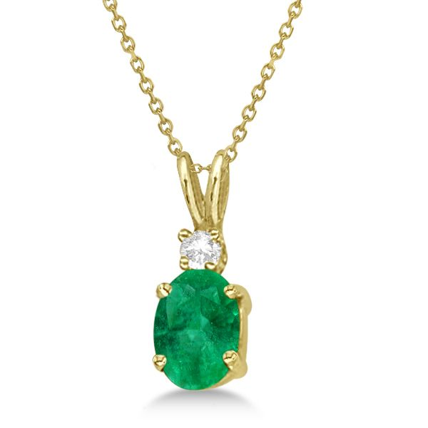 14K Yelow Gold Cable Link with .75tw Oval Emerald & .02tw Diamond 4 Prong Pendant Swede's Jewelers East Windsor, CT