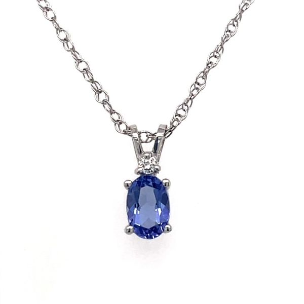 14K White Gold 6X4mm Oval Tanzanite with .02tw Diamond on 18