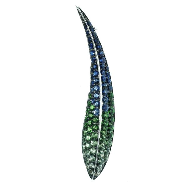 18K White Gold Sapphire and Tsavorite Garnet Feather Pin Swede's Jewelers East Windsor, CT