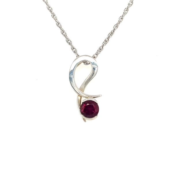 Tom Kruskal Hand Crafted Sterling Silver 7mm Quarter Bezel Set Rhodolite Garnet Drop Pendant (shown in picture with Amethyst) Swede's Jewelers East Windsor, CT
