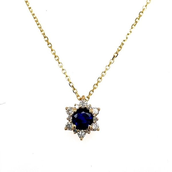 14kjyg Sapphire Star Pendant with .15ctw Diamonds 18