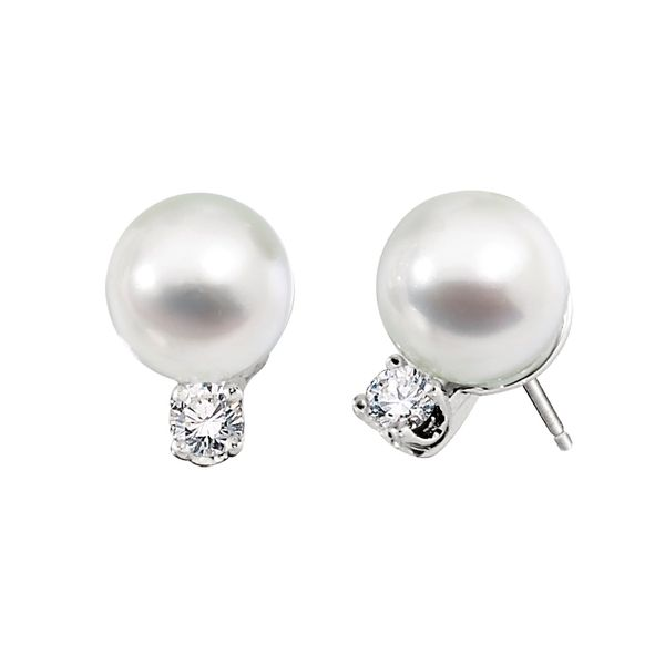 14K White Gold 7mm Pearl with .02tw Diamond Stud Earrings Swede's Jewelers East Windsor, CT