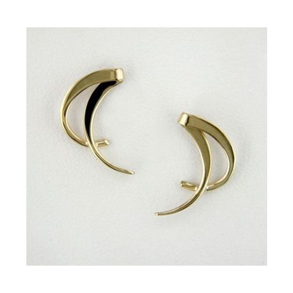 Tom Kruskal 14K Yellow Gold Curve Earrings E028 Swede's Jewelers East Windsor, CT