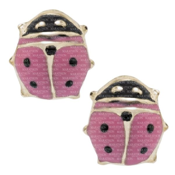 14K Yellow Gold Pink Ladybug Earrings Swede's Jewelers East Windsor, CT
