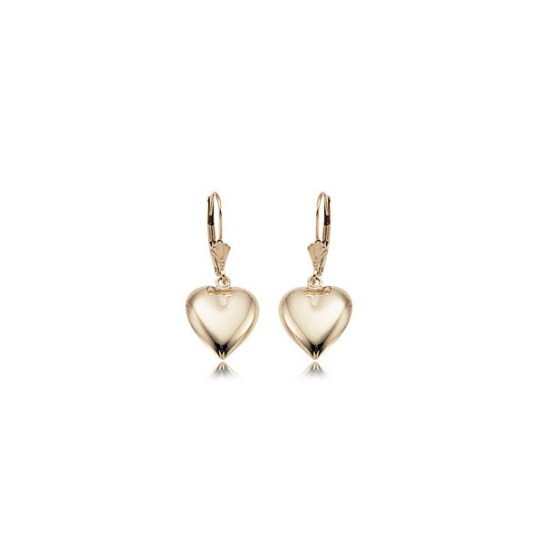 14K Yellow Gold Puffed Hearts Lever Back Earring Swede's Jewelers East Windsor, CT