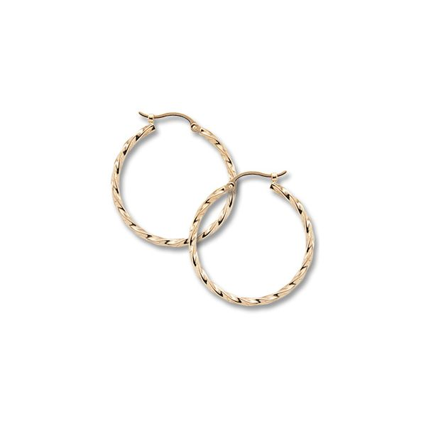 14K Yellow Gold Twisted Hoop Earrings Swede's Jewelers East Windsor, CT