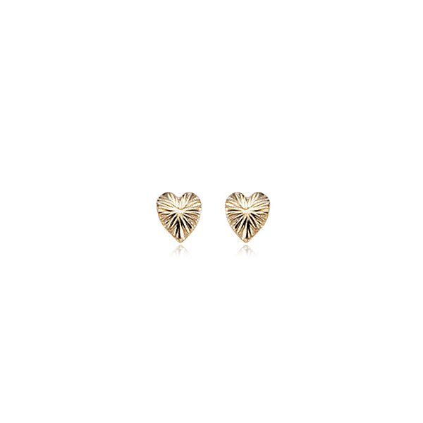 14K Gold Diamond Cut Heart Earrings Swede's Jewelers East Windsor, CT