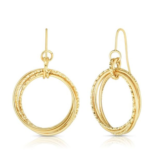 14K Yellow Gold Round Ring Dangle Earrings Swede's Jewelers East Windsor, CT