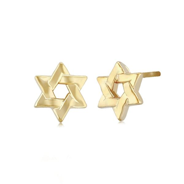 14k Yellow Gold Star of David Stud Earrings Swede's Jewelers East Windsor, CT