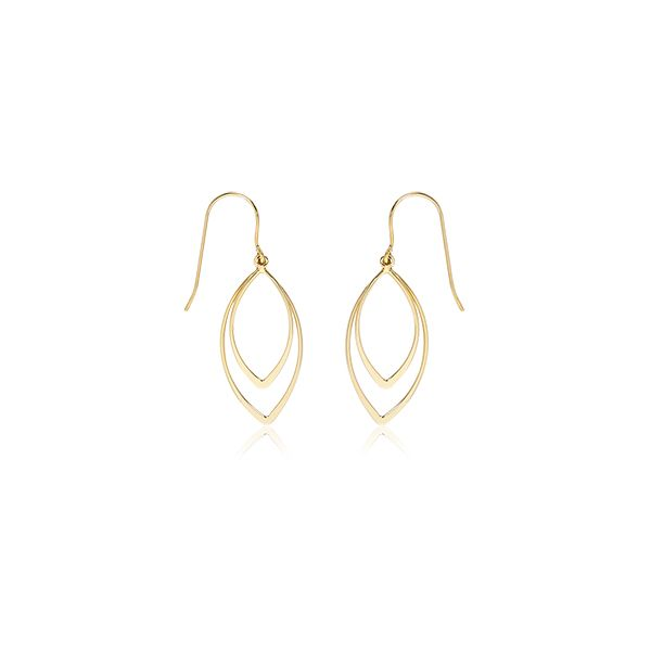 Carla 14k Yellow Gold Mini Double Pointed Drops Earrings Swede's Jewelers East Windsor, CT