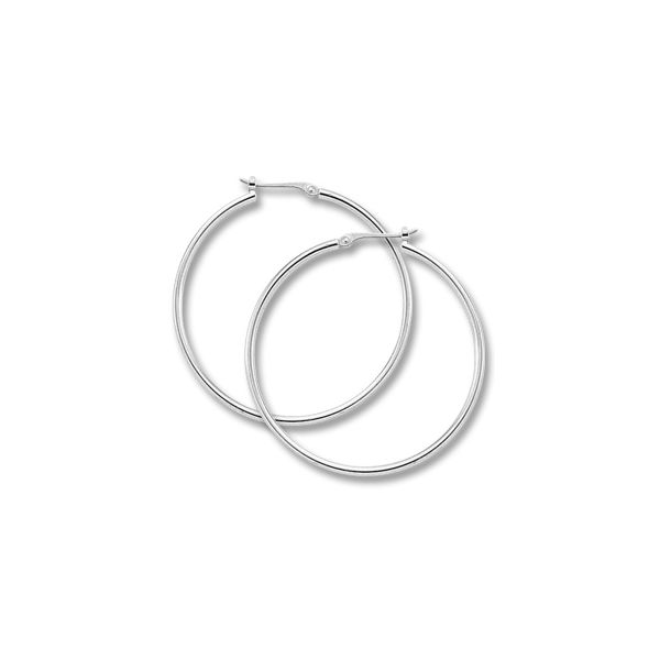 14K White Gold Large Hoop Earrings Swede's Jewelers East Windsor, CT