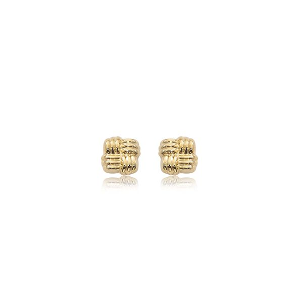 Carla 14K Yellow Gold Woven Square Earrings Swede's Jewelers East Windsor, CT