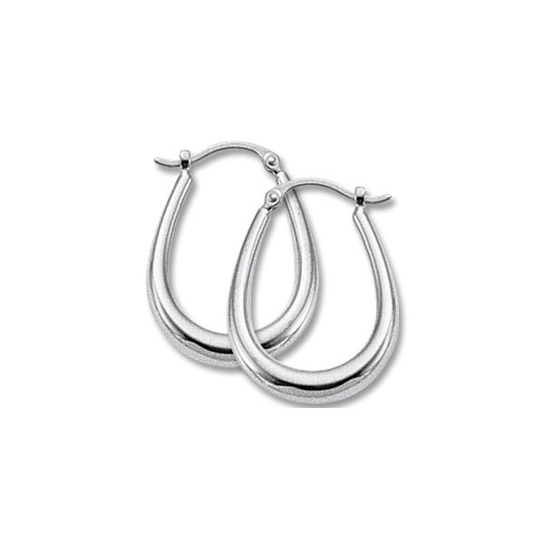 14K White Gold  Medium Hoop Earrings Swede's Jewelers East Windsor, CT