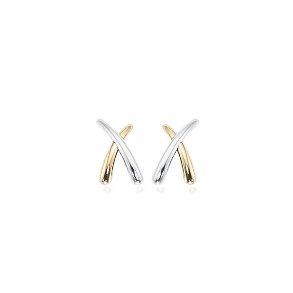 14K Two Tone Gold X Earrings Swede's Jewelers East Windsor, CT