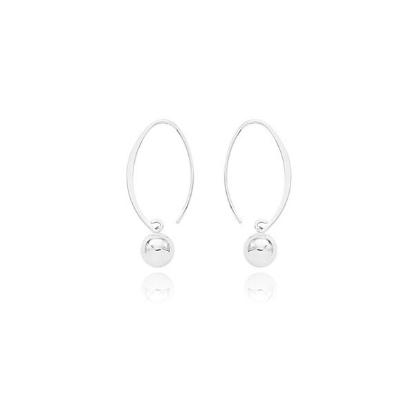 14K White Gold Dangle 8mm Ball Earrings Swede's Jewelers East Windsor, CT