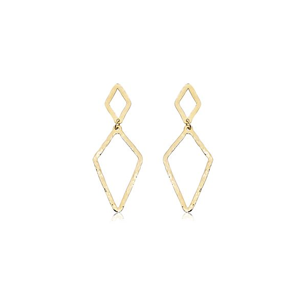 Carla14Kt Yellow Gold Hammered Double Diamond Shaped Dangle Earring. Swede's Jewelers East Windsor, CT