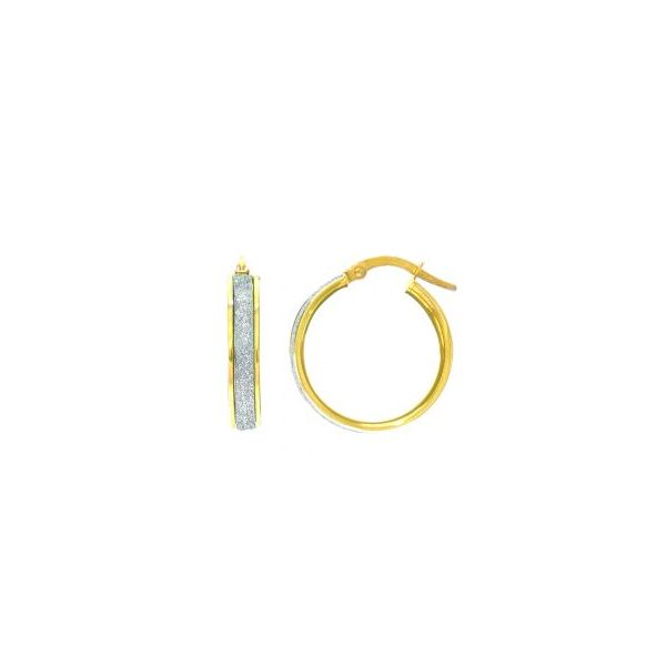 14K Yellow with White Glitter Hoop Earrings Swede's Jewelers East Windsor, CT