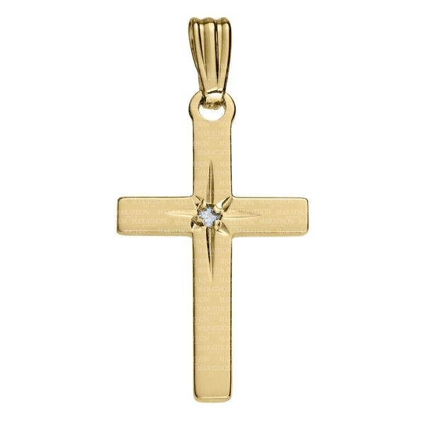 14Kt Yellow Gold Cross With 2Pt. Diamond, No Chain Swede's Jewelers East Windsor, CT