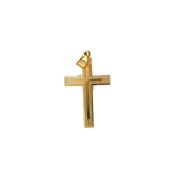 14ktyg Cross  with design 22x14mm Swede's Jewelers East Windsor, CT