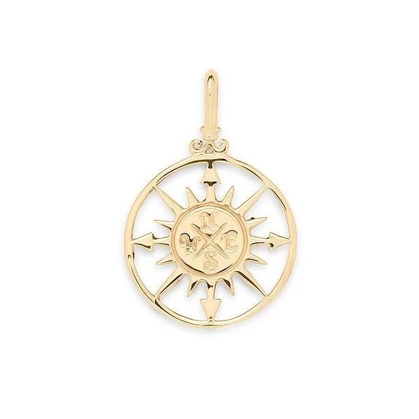14K Yellow Gold Compass Charm Swede's Jewelers East Windsor, CT