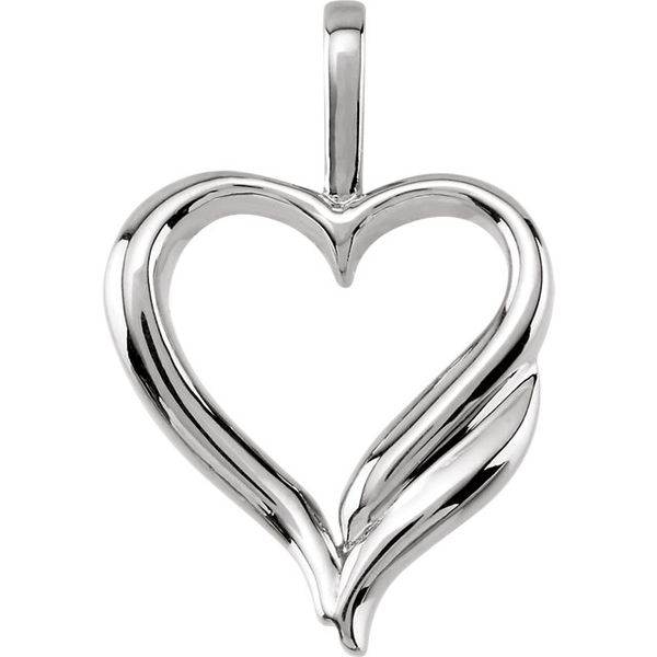 14K White Gold Open Heart Pendant Swede's Jewelers East Windsor, CT