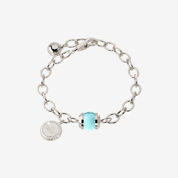 Rebecca Bronze with Rhodium Plated White with Lab Created Blue Topaz Bead Bracelet Swede's Jewelers East Windsor, CT