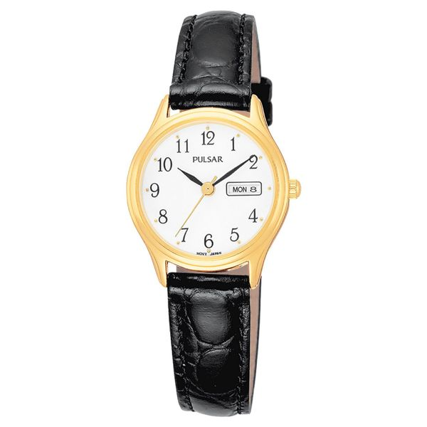 Ladies Pulsar Watch With Leather Strap Swede's Jewelers East Windsor, CT