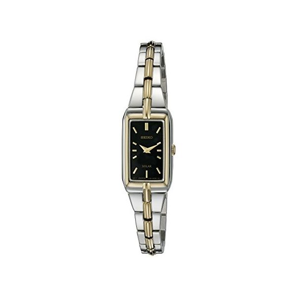 Seiko Ladies Two Tone  Black Face Solar Watch Swede's Jewelers East Windsor, CT
