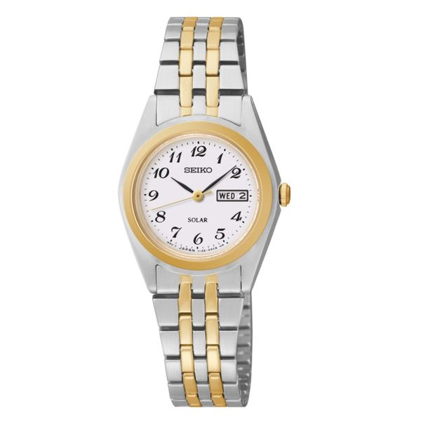 Seiko Ladies Solar Watch Two Tone Bracelet With Date Swede's Jewelers East Windsor, CT