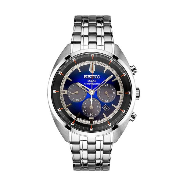 Seiko Gents Solar Chronoghraph Dual Deployment Blue Face Watch Swede's Jewelers East Windsor, CT