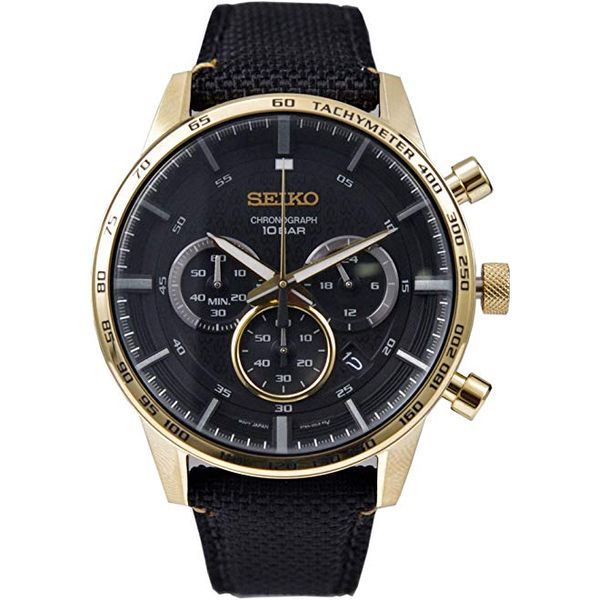 Seiko Gents Black Chronograph Watch Swede's Jewelers East Windsor, CT