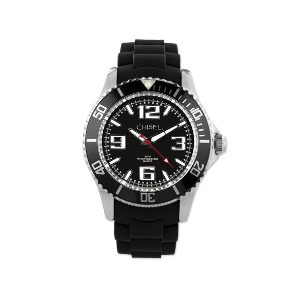 Chisel Gents Black Silicone Strap Dive Watch Swede's Jewelers East Windsor, CT