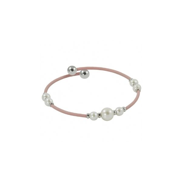 Sterling Silver/Pink Rubber &  Freshwater Pearl Cuff Bracelet Swede's Jewelers East Windsor, CT