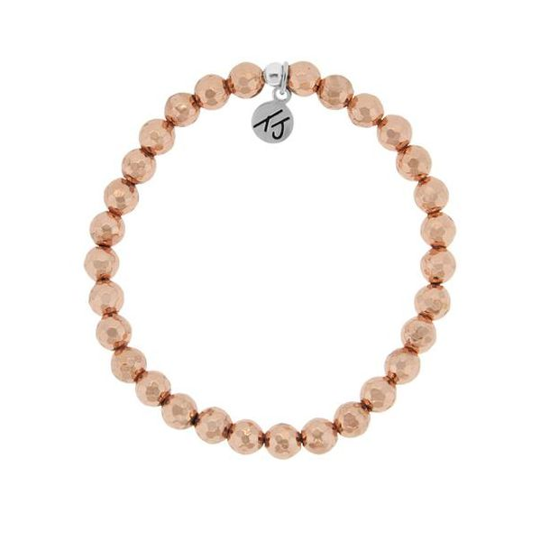 Tjazelle Rose Gold Plated Hematite 6Mm Stacker Bracelet Swede's Jewelers East Windsor, CT