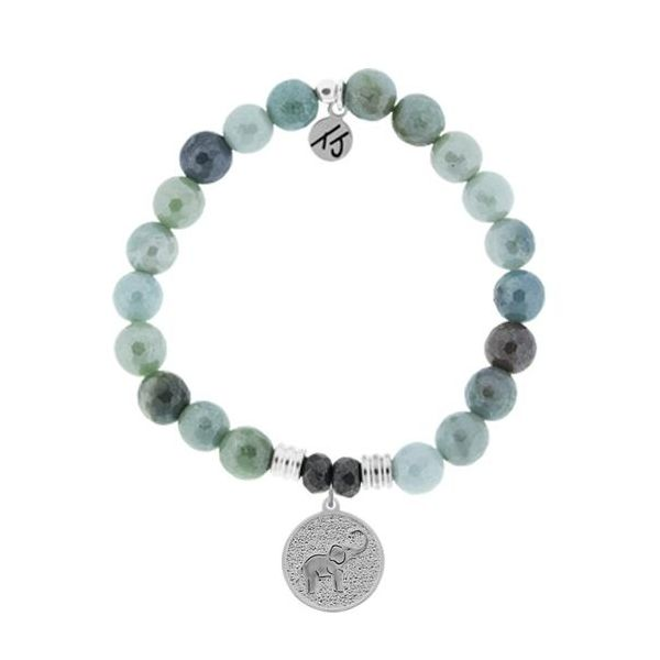 Tjazelle Amazonite 8Mm Bracelet With Sterling Silver Lucky Elephant Charms. Swede's Jewelers East Windsor, CT