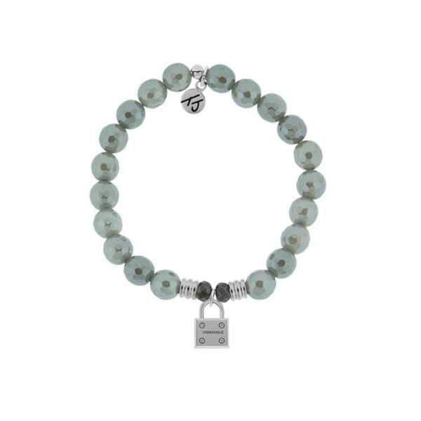 Tjazelle Grey Agate 8Mm Bracelet With Sterling Silver Unbreakable Charm. Swede's Jewelers East Windsor, CT