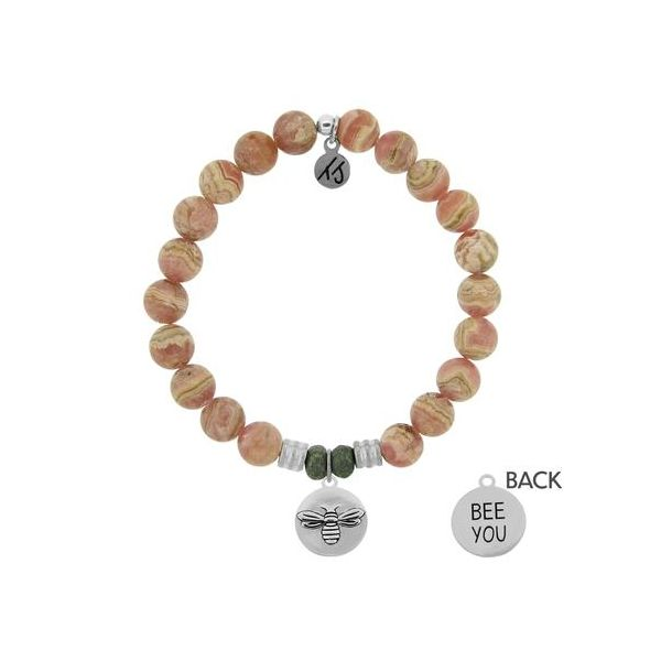 T. Jazelle Rhodochrosite 8Mm Bracelet With Sterling Silver Bee You Charm. Swede's Jewelers East Windsor, CT